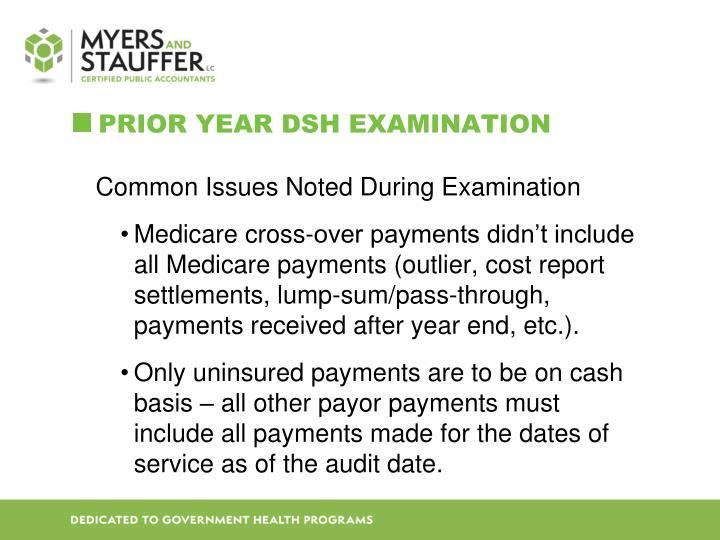 Prior Year DSH Examination