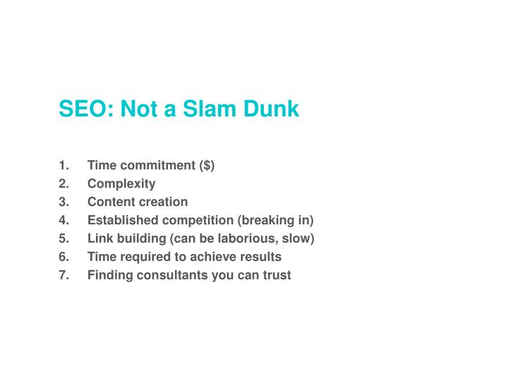 SEO: Not a Slam Dunk