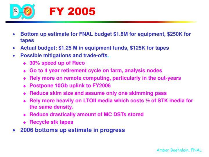 Bottom up estimate for FNAL budget $1.8M for equipment, $250K for tapes