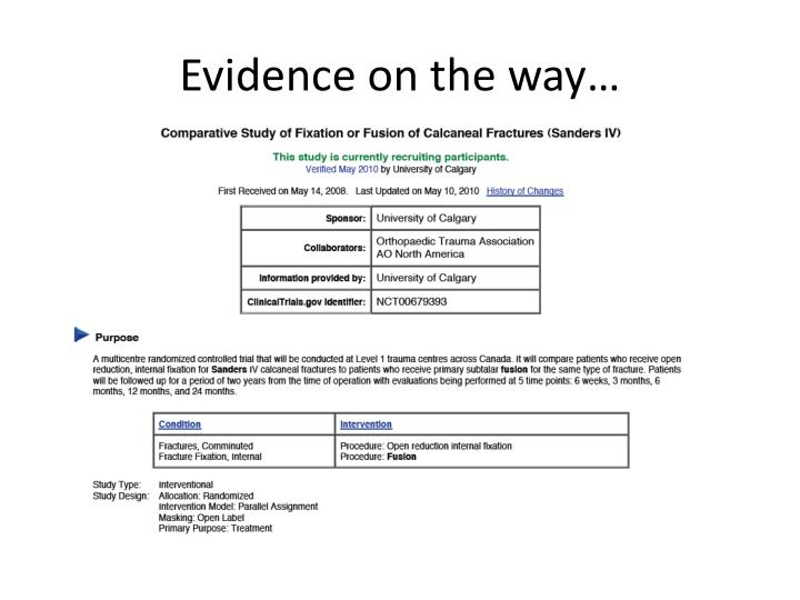 Evidence on the way…