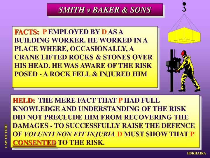 SMITH v BAKER & SONS