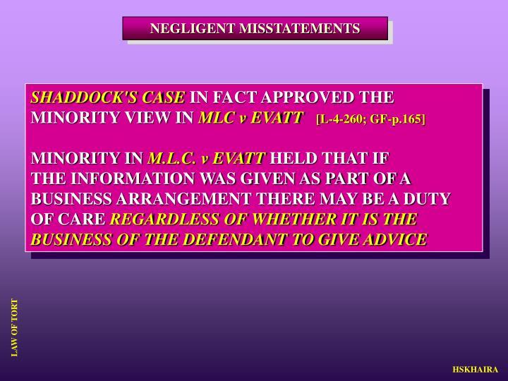 NEGLIGENT MISSTATEMENTS