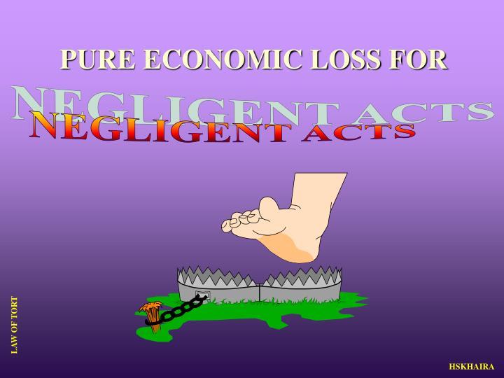 PURE ECONOMIC LOSS FOR