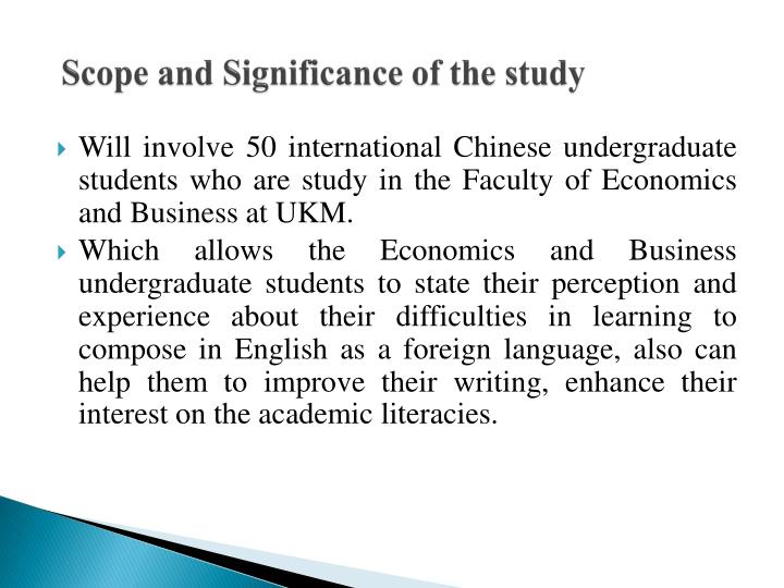 Scope and Significance of the study