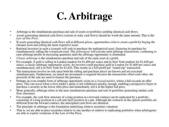 C. Arbitrage