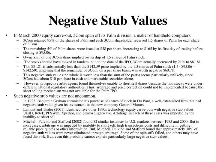 Negative Stub Values