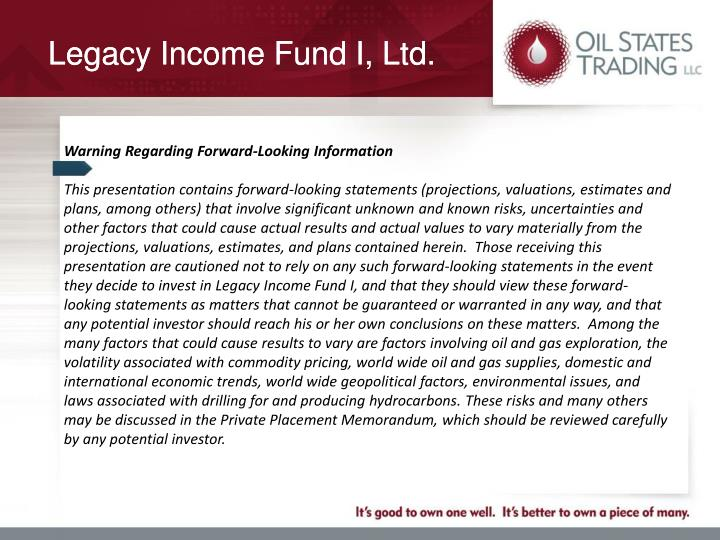 Legacy Income Fund I, Ltd.
