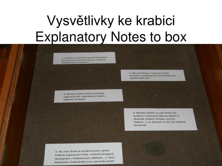 Vysvětlivky ke krabici