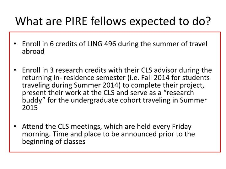 What are PIRE fellows expected to do?