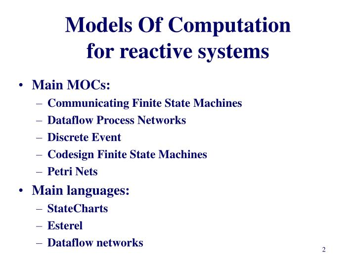 Models of computation for reactive systems