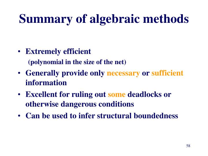 Summary of algebraic methods