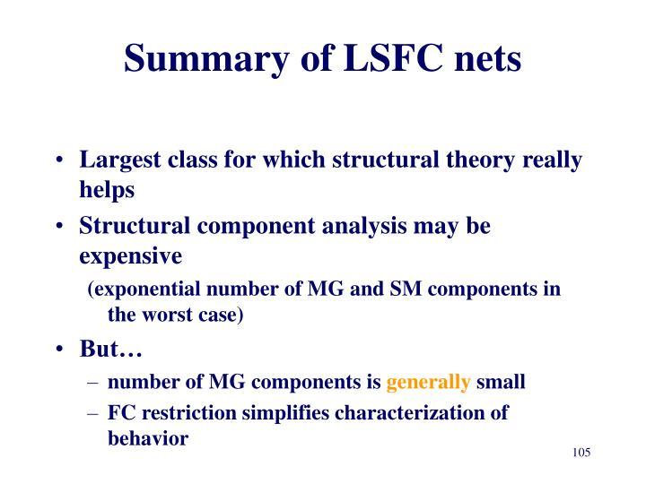 Summary of LSFC nets