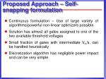 proposed approach self snapping formulation