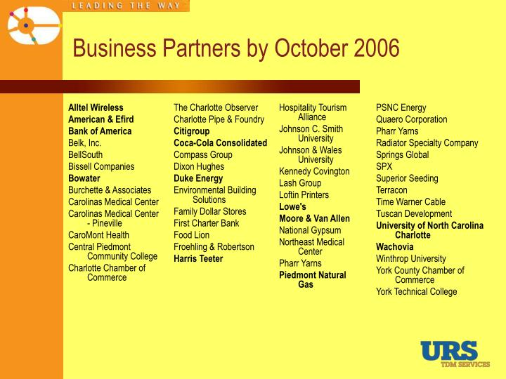 Business Partners by October 2006