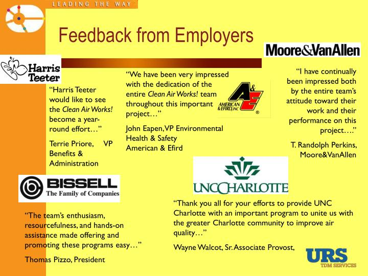 Feedback from Employers