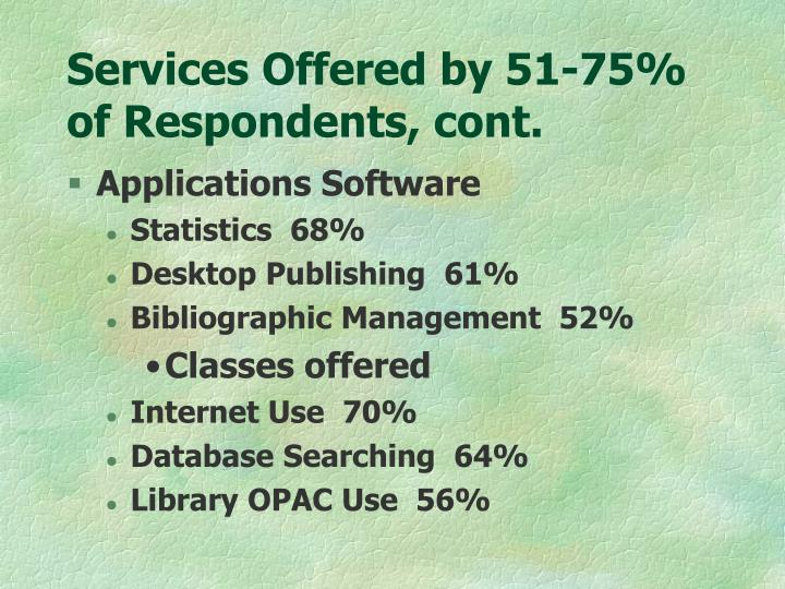 Services offered by 51 75 of respondents cont