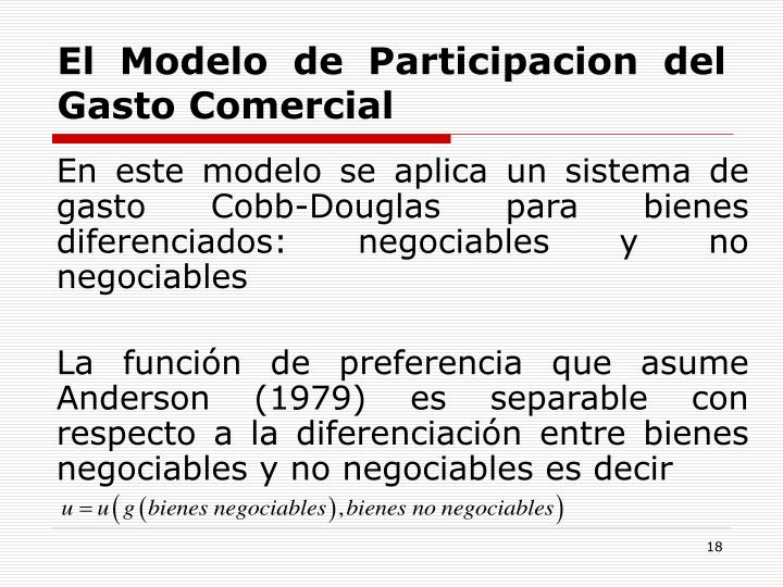 El Modelo de Participacion del Gasto Comercial
