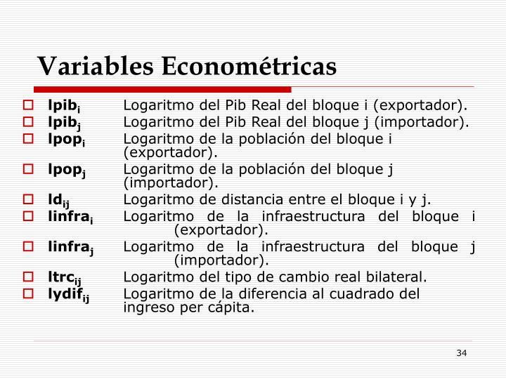 Variables Econométricas