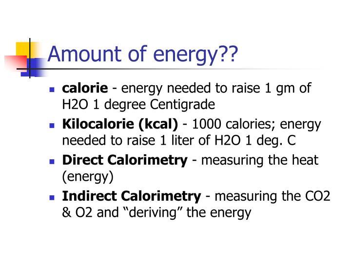 Amount of energy??