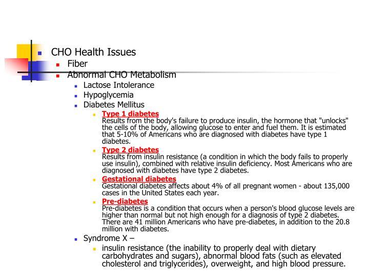 CHO Health Issues