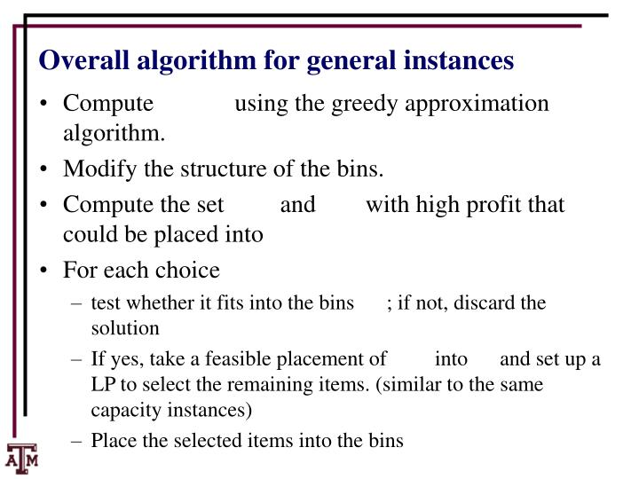 Overall algorithm for general instances