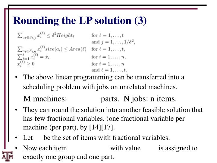 Rounding the LP solution (3)