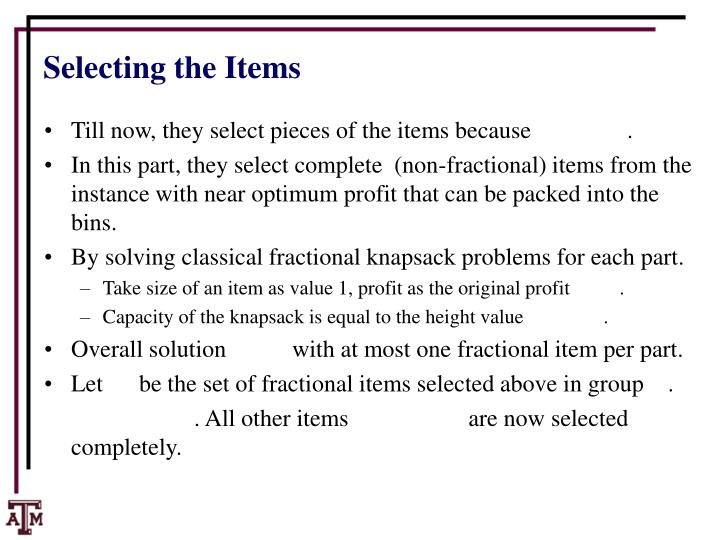 Selecting the Items