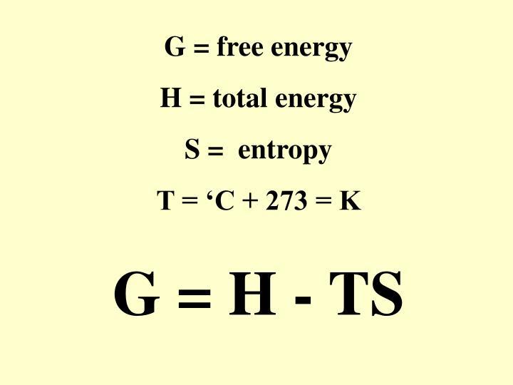 G = free energy