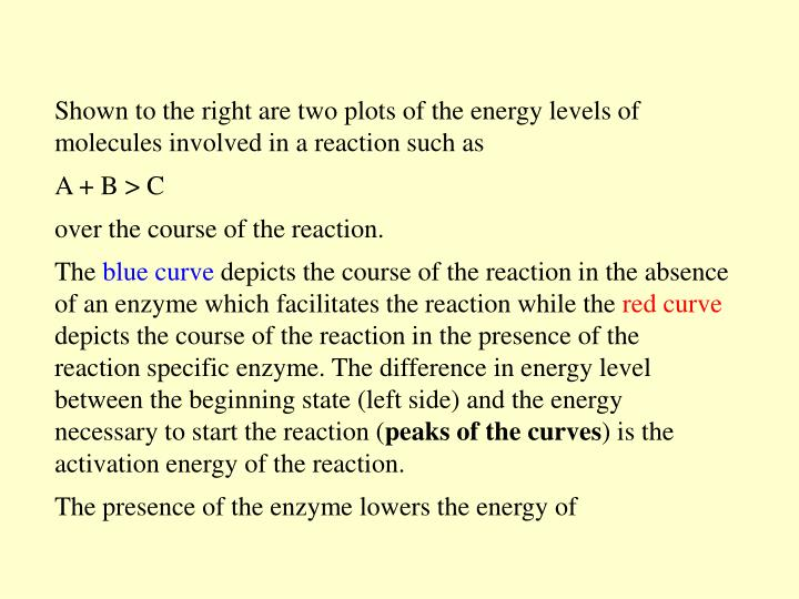 Shown to the right are two plots of the energy levels of molecules involved in a reaction such as