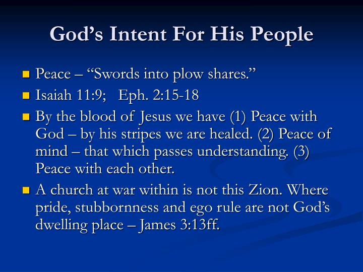 God's Intent For His People