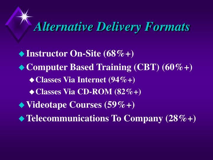 Alternative Delivery Formats