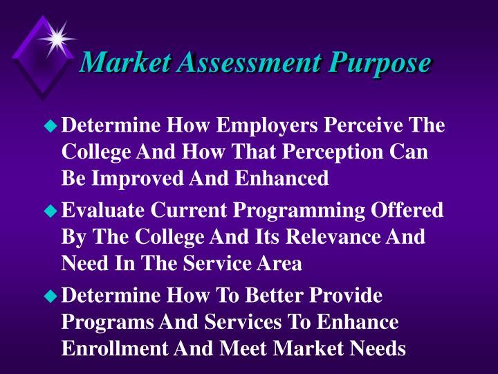 Market assessment purpose