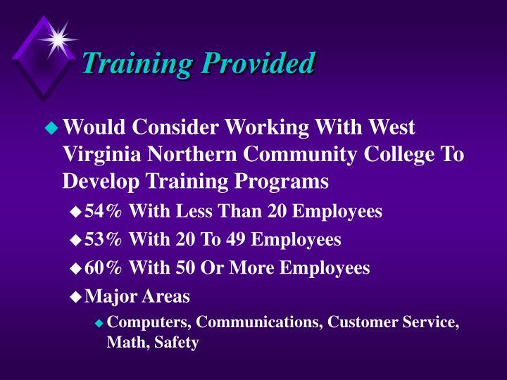 Training Provided