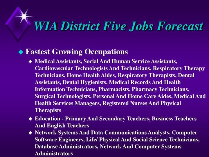 WIA District Five Jobs Forecast