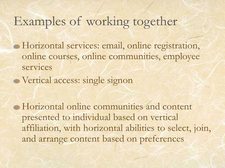 Examples of working together