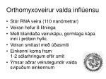 orthomyxoveirur valda infl ensu