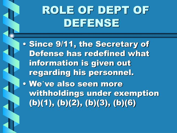 ROLE OF DEPT OF
