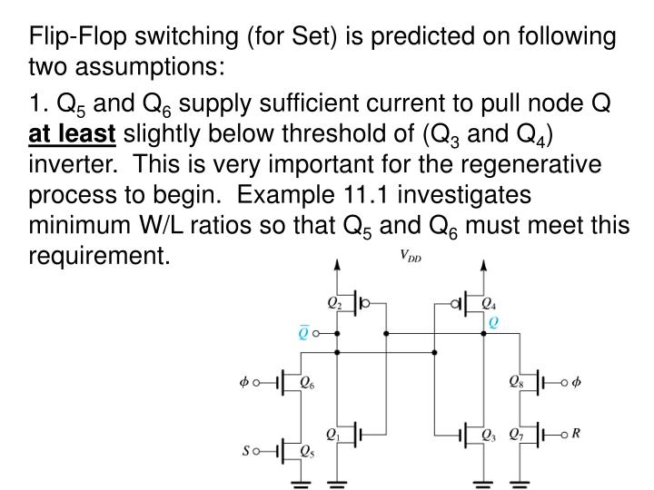 Flip-Flop switching (for Set) is predicted on following two assumptions: