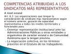 competencias atribuidas a los sindicatos m s representativos