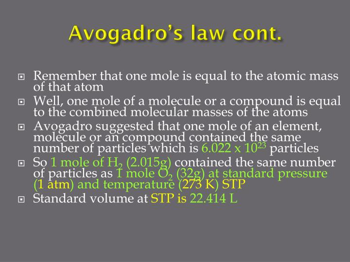 Avogadro's law cont.