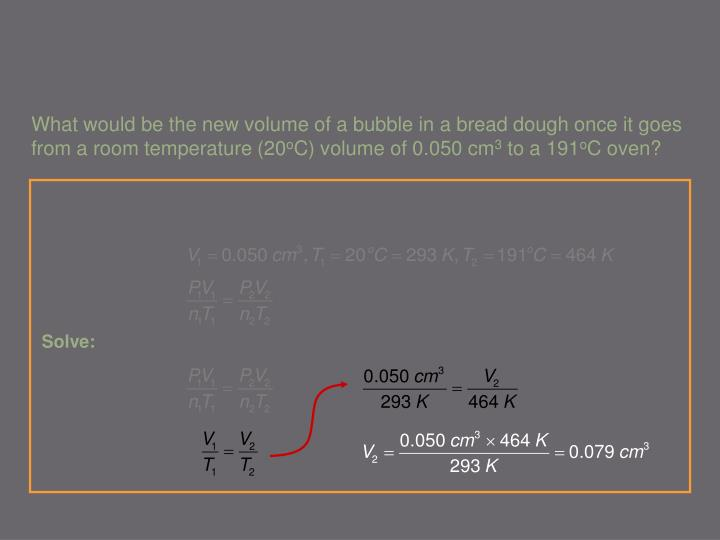 What would be the new volume of a bubble in a bread dough once it goes from a room temperature (20