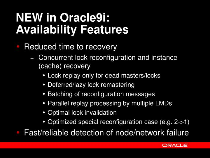 NEW in Oracle9i:                            Availability Features