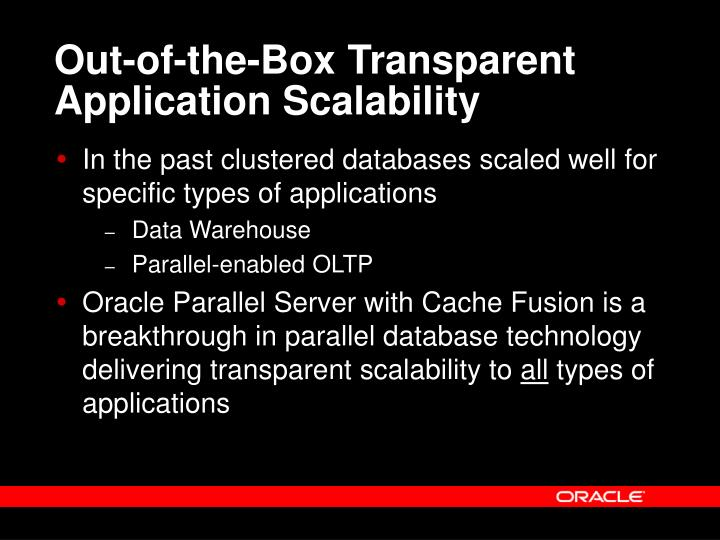 Out-of-the-Box Transparent Application Scalability