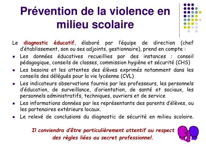 Prévention de la violence en milieu scolaire