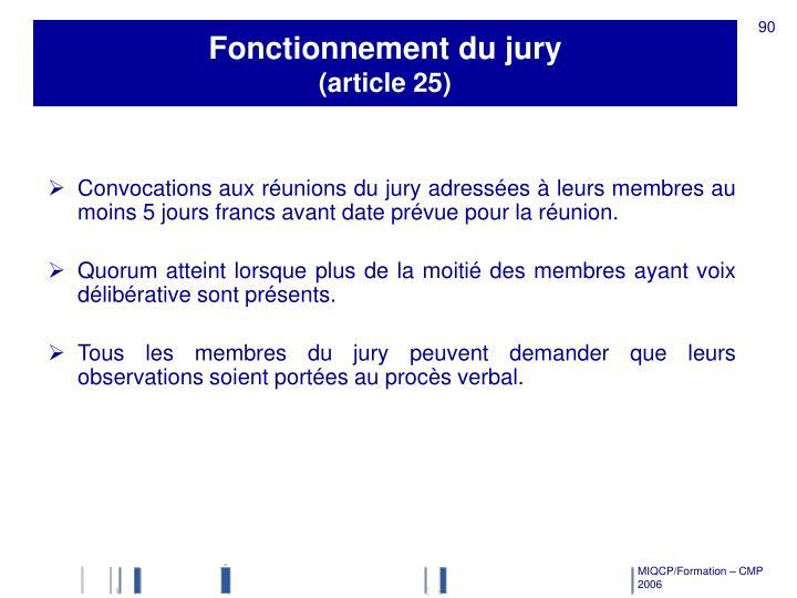 Fonctionnement du jury