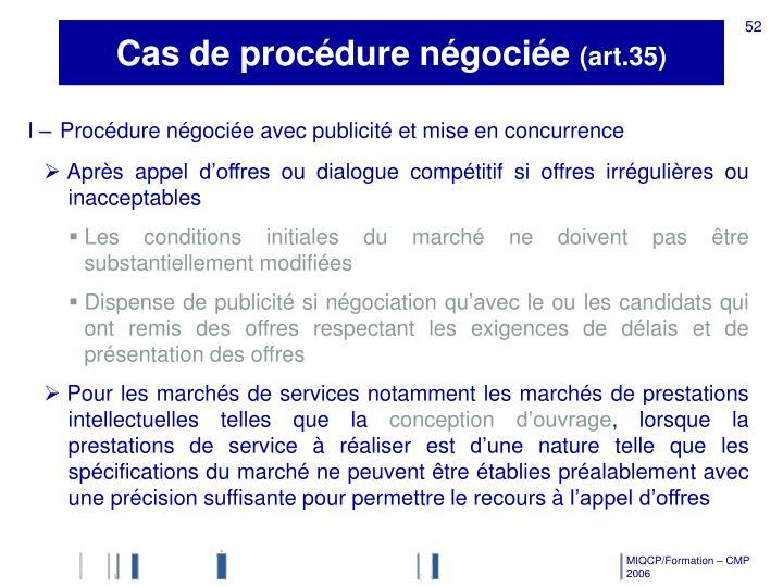 Cas de procédure négociée