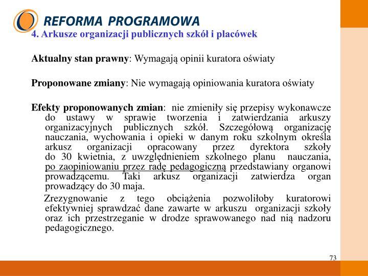 4. Arkusze organizacji publicznych szkół i placówek