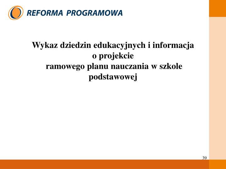 Wykaz dziedzin edukacyjnych i informacja                   o projekcie