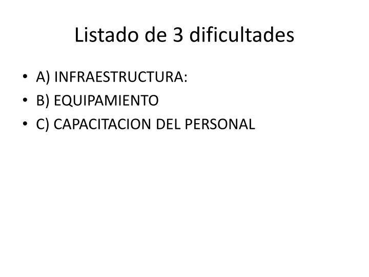 Listado de 3 dificultades