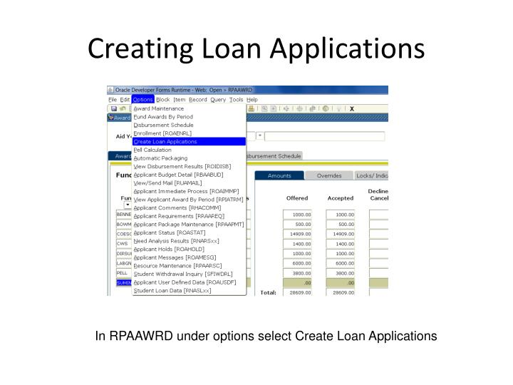 Creating Loan Applications